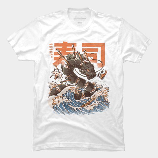 JAPAN Great Sushi Dragon Men T-shirt Graphic Shirt Cotton Short Sleeve Top Tee