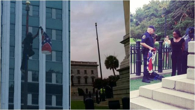 Woman Defies Police Orders Removes Confederate Flag In Front Of SC