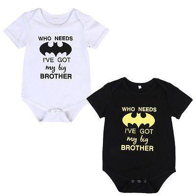 """ Who Needs Batman I've Got My Big Brother "" Superhero Onesie Boy or Girl 6-12 mo Infant Bodysuit Baby Shower Gift Ideas Unisex Clothes Kids"