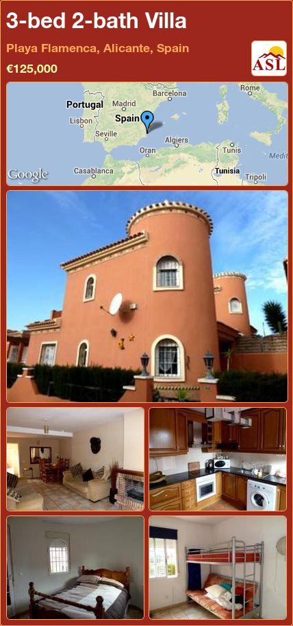 3-bed 2-bath Villa in Playa Flamenca, Alicante, Spain ►€125,000 #PropertyForSaleInSpain
