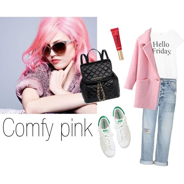 """Comfy pink w/ white sneakers"" by ninonptrs.fr on Polyvore"