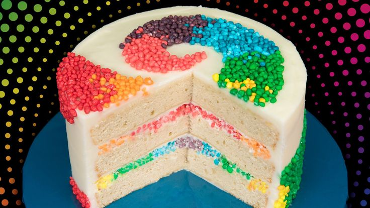 Rainbow Nerds Candy Cake Tutorial from Cookies Cupcakes and Cardio