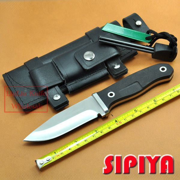 Fixed Blade Knives tactical outdoor Survival Knife Camping tools  ATS-34 blade With Sheath & Fire Starter Hand guards