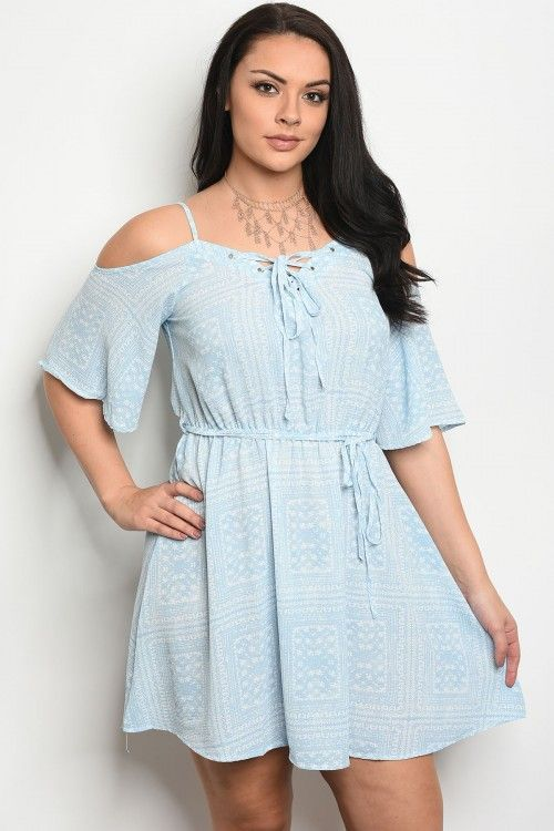 a59855bc03d S12-12-2-D1494X SKY BLUE WHITE PLUS SIZE DRESS 2-2-2