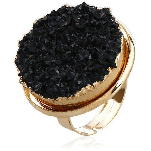 Black ONE-SIZE Engraved Faux Crystal Round Finger Ring ($2.28) ❤ liked on Polyvore featuring jewelry, rings, artificial jewellery, imitation rings, crystal jewelry, crystal stone jewelry and engraved jewelry