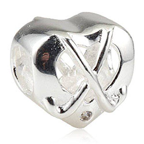 Soulbead Hockey Sticks Charm with Clear Zircon Stone Genuine 925 Sterling Silver Heart Bead for European Bracelet Jewelry LeoHr5l13