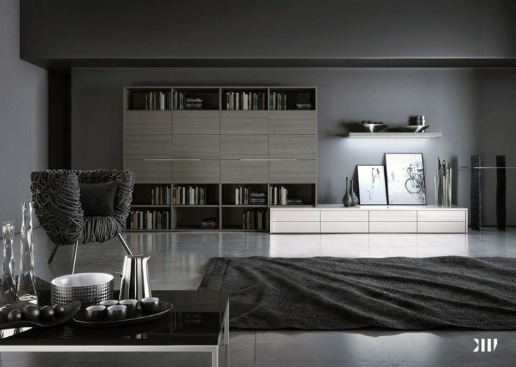 Black White Interior Design And Grey Living Room Image