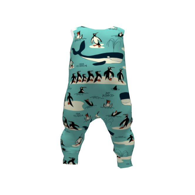 Brindille and Twig Baby Harem Romper made with Spoonflower designs on Sprout Patterns. A sympathetic whale swims with his penguin friends
