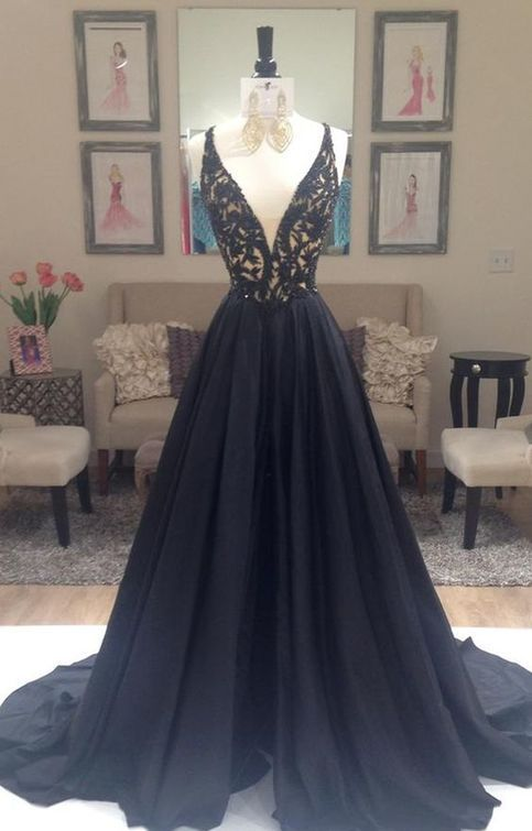 The long prom dresses are fully lined, 8 bones in the bodice, chest pad in the bust, lace up back or zipper back are all available, total 126 colors are available.  This dress could be custom made, there are no extra cost to do custom size and color. 1, Material: chiffon, tulle, pongee, rhinest... http://www.storenvy.com/products/16529613-black-prom-dress-black-prom-dress-a-line-prom-dress-v-neck-prom-dress-gown