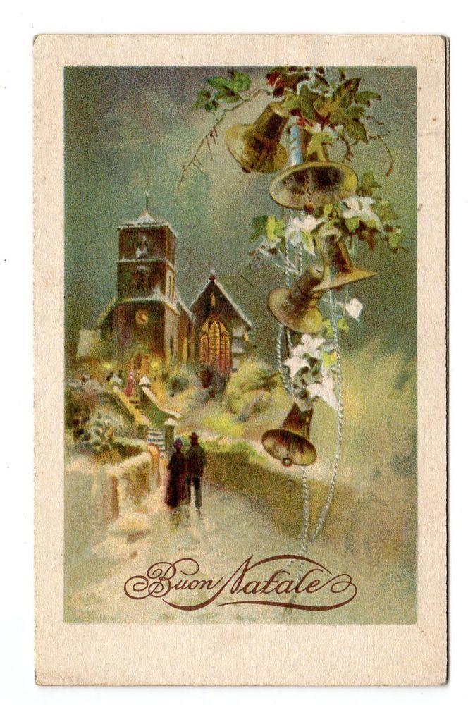 Cartoline Di Natale Anni 30.Antica Cartolina Buon Natale Epoca 1933 Piccola Paesaggio