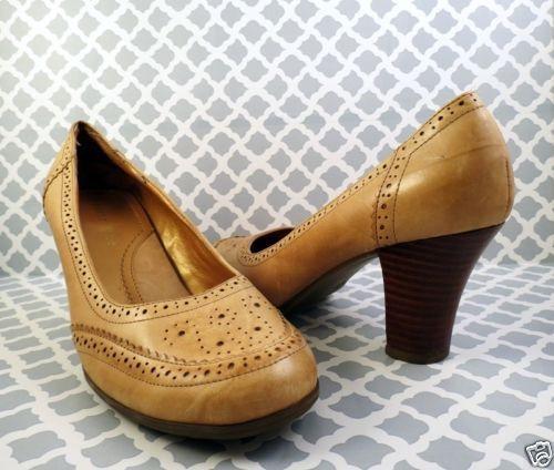 43ddec83980c Womens Sz 9 Tan Leather Pumps Brogues Wood 3