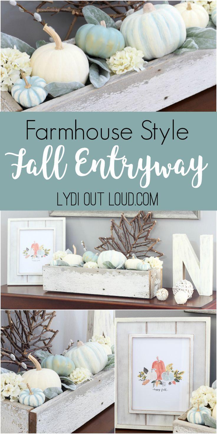 Fall Entryway Decor with DIY Decorative Pumpkins via @LydiOutLoud