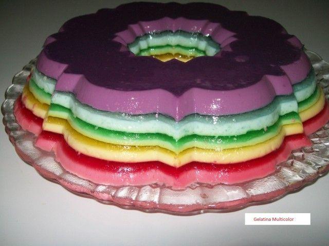 Gelatina multicolor. Un delicioso postre   Recetas Thermomix https://recetasconthermo.com/2015/08/27/gelatina-multicolor/