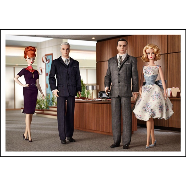 Barbie Collector Mad Men Complete 4 Doll Set. Roger Sterling, Don & Betty Draper, Joan Holloway