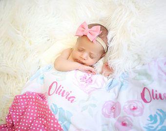 Personalizada manta / Floral de verano / / regalos para el bebé / / recién nacido fotos Prop / / mejor envolverlo manta / aduana