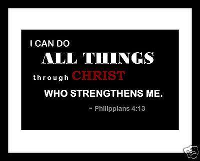 Christian Scripture 11 x 14 Print Philippians 4:13; Bible Wall Decor; Jesus