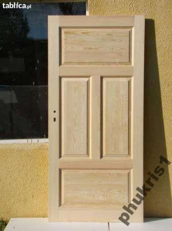Drzwi drewniane bezsęczne sosnowe PROSTE Ciche - image 1