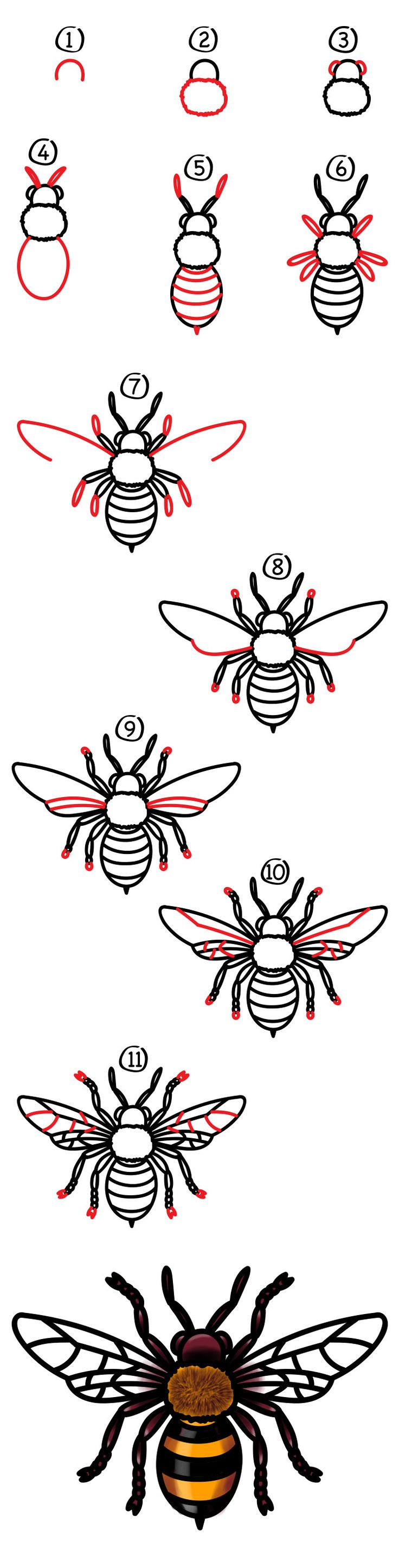 It's Monday, and it's time for another week of art! Today we're learning how to draw a realistic bee. Grab those markers and follow along with us. We hope you're also going to follow along when we color our bees. Adding color, texture, and shading is what really makes your drawing come to life. Remember …