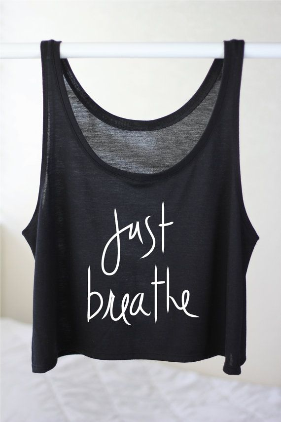 YOGA CROP TOP Tank  Just Breathe Yoga Tank Top  by ArimaDesigns