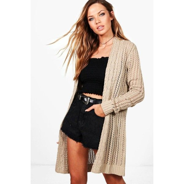 Boohoo Lucy Cable Edge Crochet Cardigan ($36) ❤ liked on Polyvore featuring tops, cardigans, crochet knit cardigan, knit cardigan, wrap tops, crochet tops and party tops