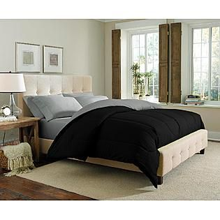 Cannon- -Solid Reversible Comforter - Black/Silver