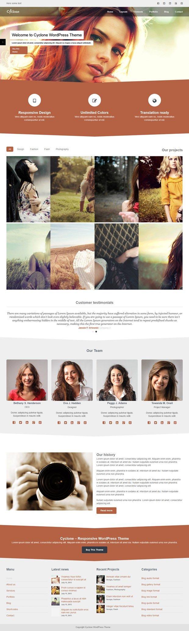 Responsive Photography WordPress Theme - Cyclone