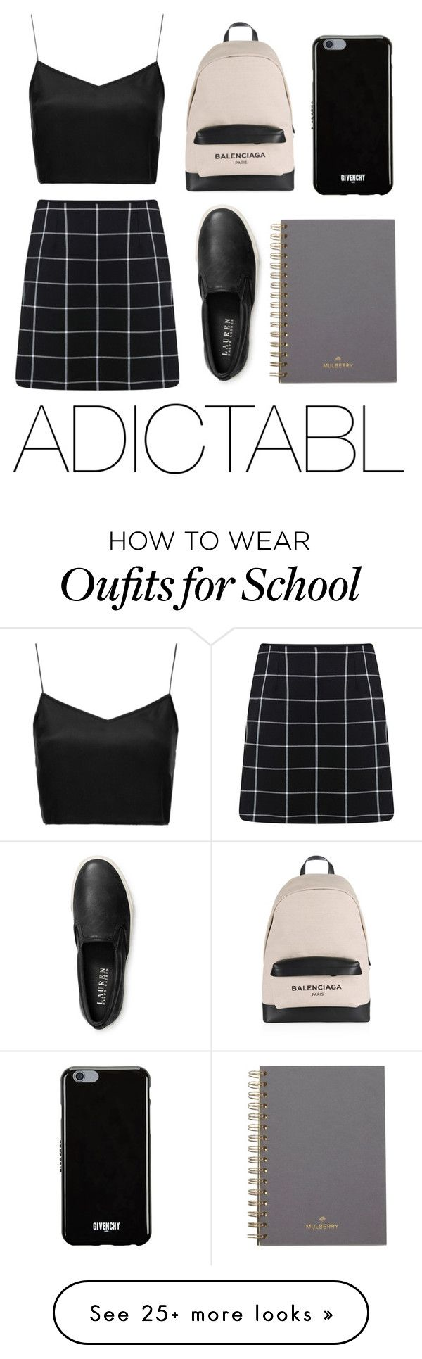 """ADICTABL- SCHOOL NO.1"" by adictabl on Polyvore featuring Boutique, Miss Selfridge, Balenciaga, Givenchy, Ralph Lauren, Mulberry, school, ralphlauren and adictabl"