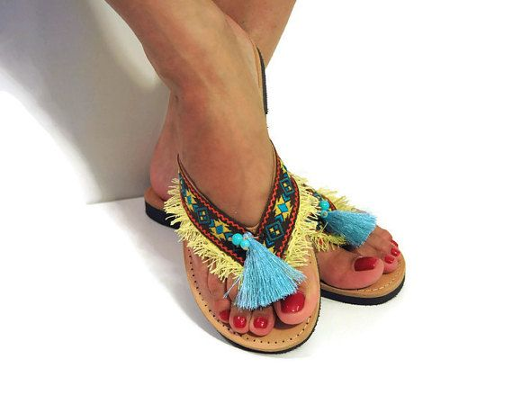 Ethnic flip flops, brown yellow sandals, tassel sandals, fringe flip flops, Ethnic Sandals, Greek sandals, leather flip flops, African style