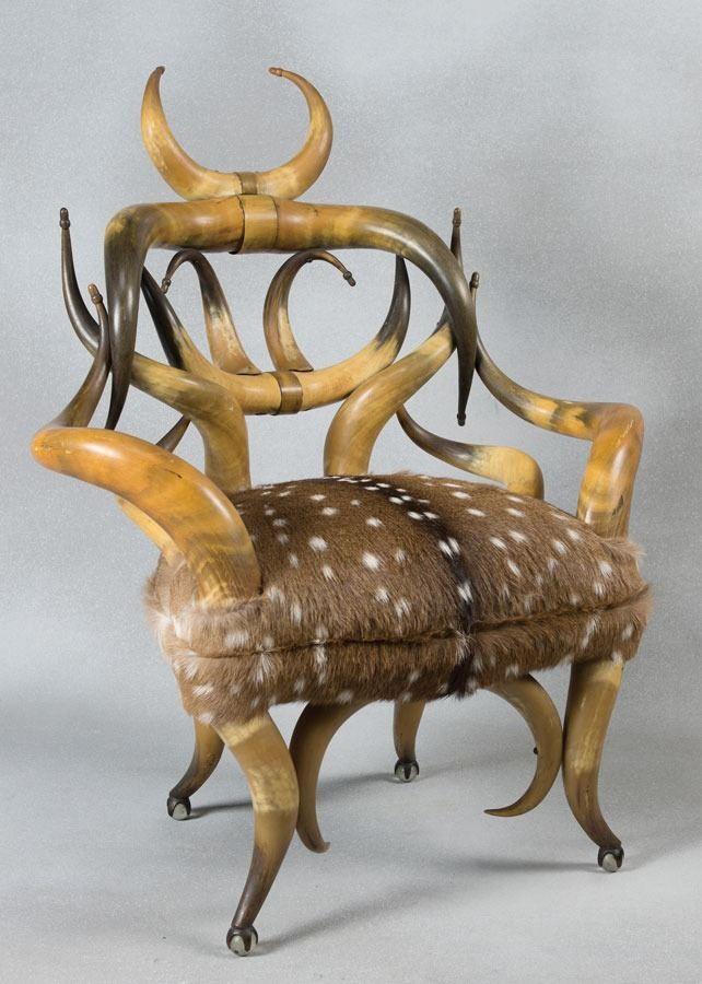 Wenzel Friedrich Horn Chair. Deer HideTiffany ...