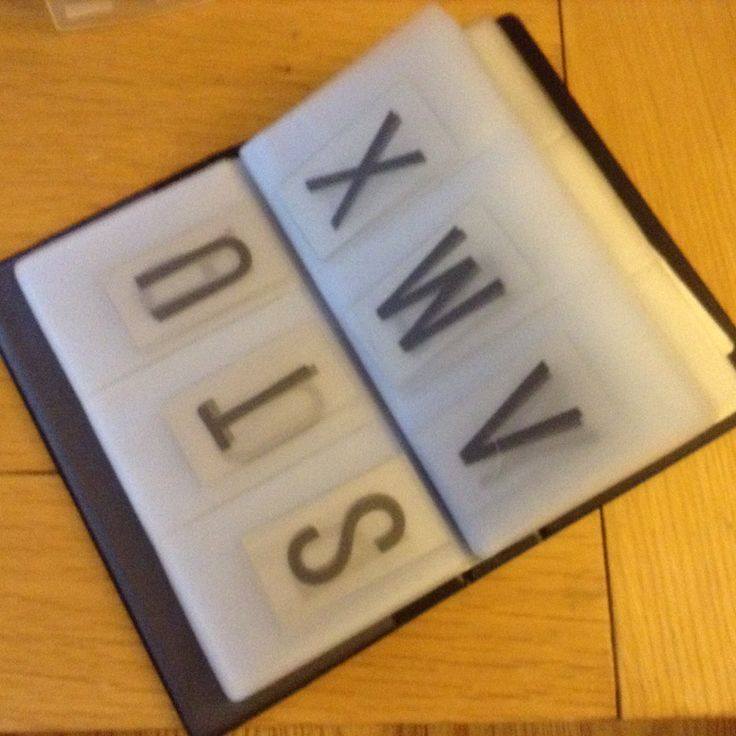 Keep you lovely lightbox letters stored and sorted in a business card holder.