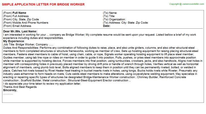 Bridge Worker Application Letter