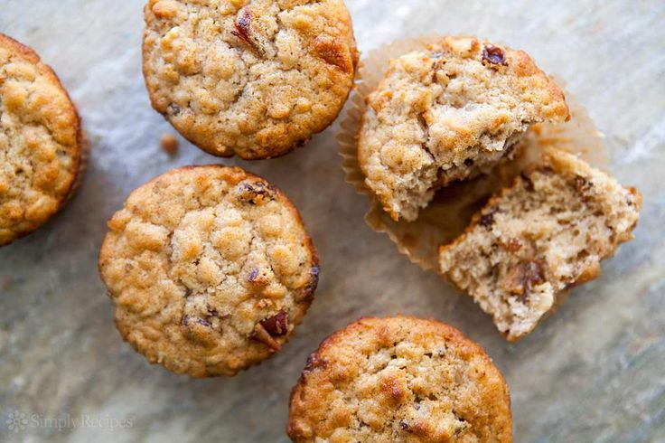 Tender oatmeal muffins studded with fruit and nuts, and flavored with buttermilk and cinnamon. On SimplyRecipes.com