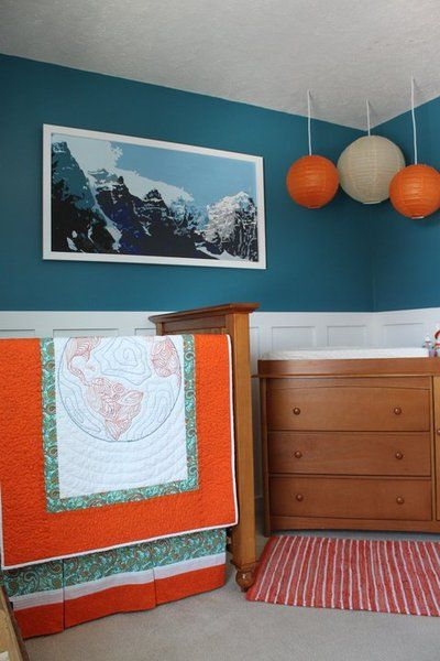 Blue and Orange - Travel Theme -- this is a color scheme Andy would allow!