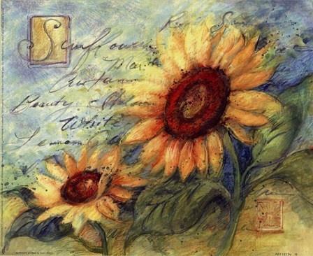 Sunflowers On Blue by Susan Winget art print