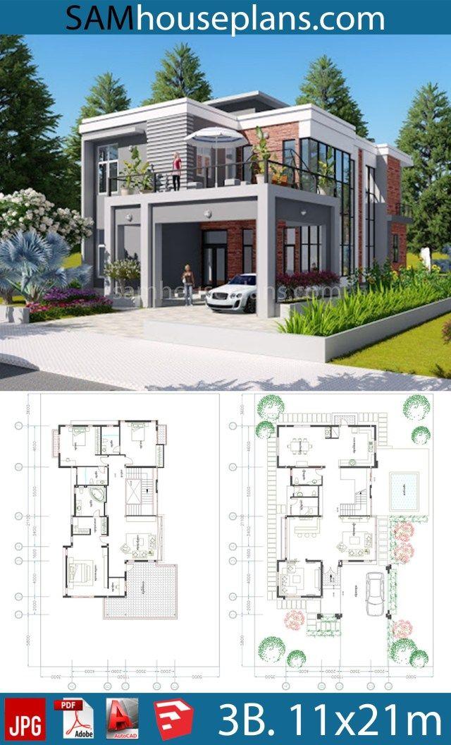 House Plans 11 5x21 1m With 3 Bedrooms Plan Maison Architecte