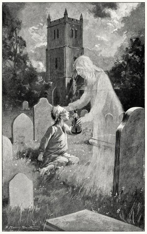 Mammy, my violin cost three shillings and sixpence, and I can't make it play noways.  David (?) Murray Smith (1865-1952), from A book of ghosts, by Sabine Baring-Gould, London, 1904.  (Source: archive.org)