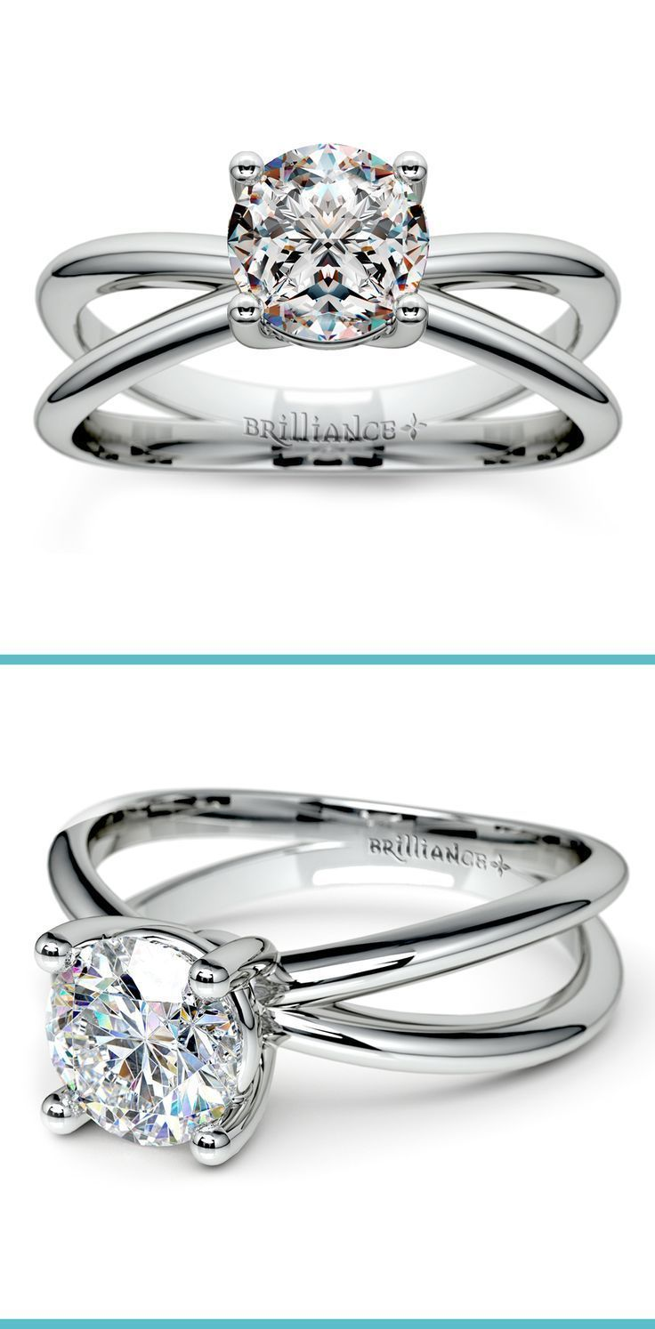 This exceptional platinum solitaire engagement ring setting features a crisscross split shank that extends to either side of your stone and meets at the bottom. A platinum prong setting secures your choice of center diamond.
