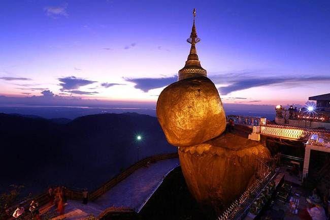 Giant Golden Rock At Kyaiktiyo Pagoda In Myanmar, Burma | Pinterest