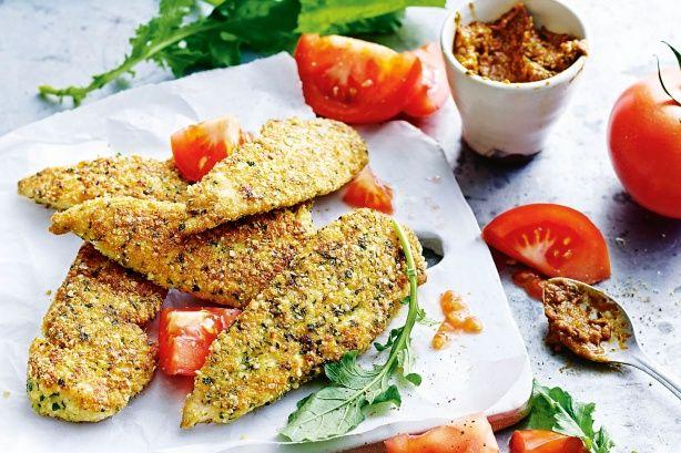 Chicken quinoa schnitzels with sun-dried tomato pesto