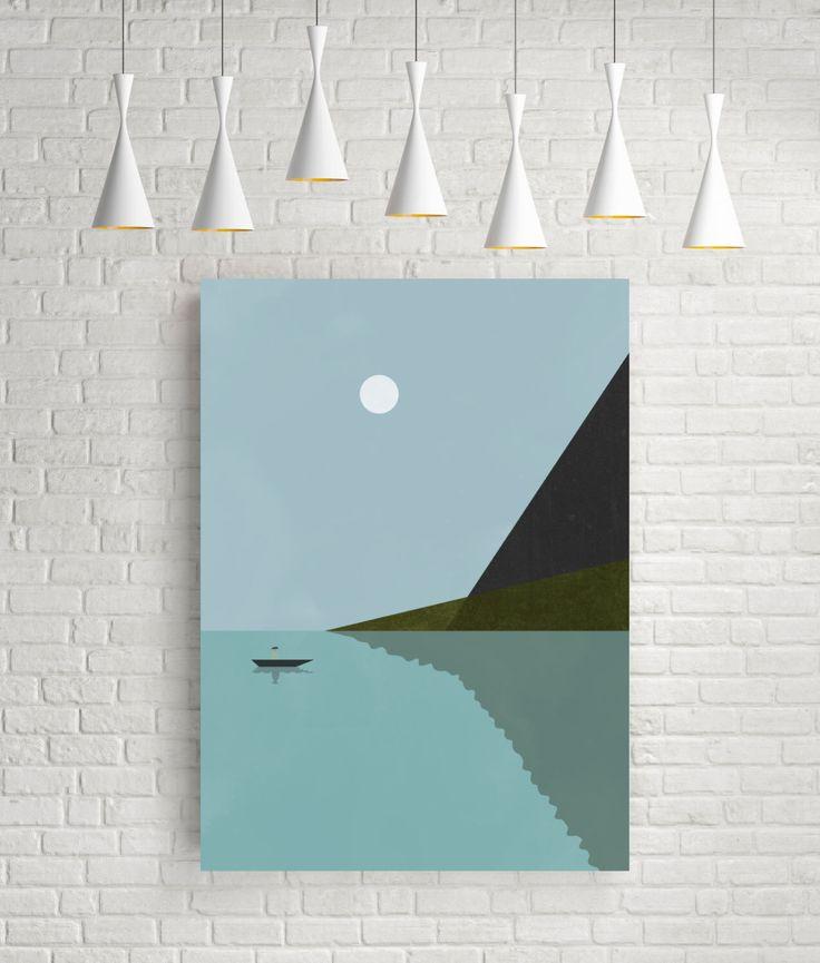 Sailing at night, minimalist art print, vintage prints, sea print, nautical art print, sea poster, art prints vintage, nautical poster, lake by FLATOWL on Etsy https://www.etsy.com/listing/233939819/sailing-at-night-minimalist-art-print