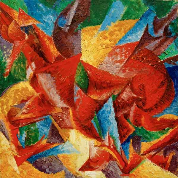 "Umberto Boccioni ""Dimensional shapes of a horse"" 1913 Oil on canvas, Gabrielle Merzbacher Collection, Switzerland"
