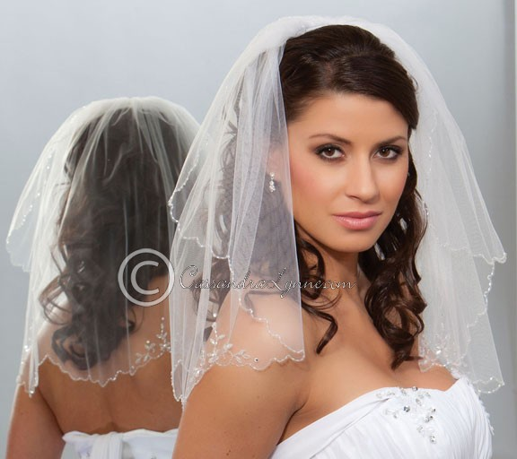 Short Bridal Veil With Crystal Flowers