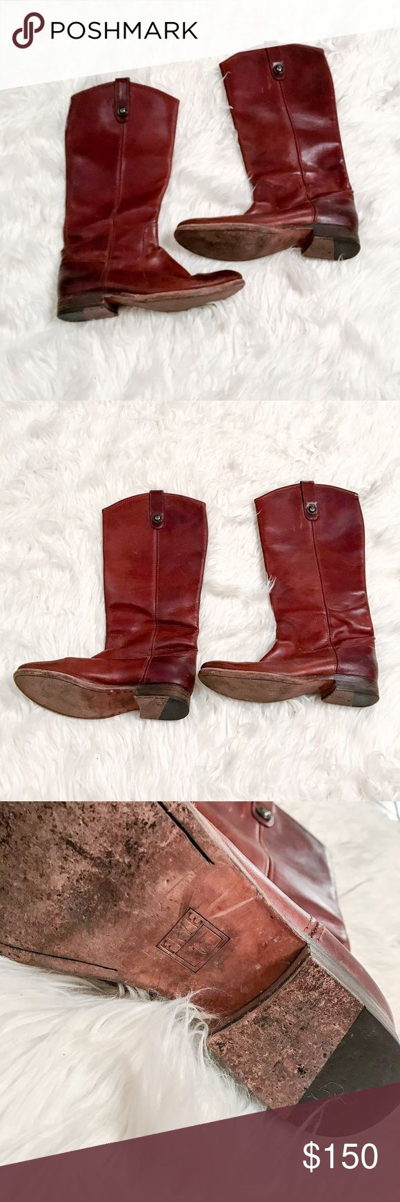 Frye Riding Boots Gorgeous Cherry brown riding boots. Has scuffs and scratches as seen. (Which in my opinion adds character😉)Leather sole in good condition. ✅Bundle & Save 🚫Sorry no trading 👍Fast Shipper 💕Happy Poshing Frye Shoes Combat & Moto Boots