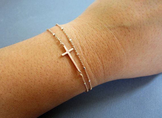 Sideways Cross Bracelet, Layered Bracelet, Rose Gold satellite Bracelet, Dainty jewelry, Rosegold cross pendant, Side Cross Bracelet via Etsy