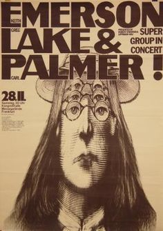 1970 Emerson, Lake and Palmer, Germany vintage psychedelic poster