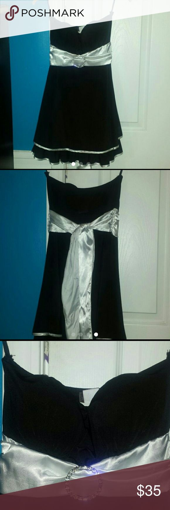 Strapless Silky Black/Silver Mini Dress This dress is too small for me; It's only been worn once by my sister.  Happy Poshing! :) Feel free to make an offer! Joppa Dresses Mini