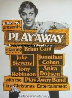 'Play Away' a wonderful spin off from 'Play School' for slightly older children. With the Brian Cant the host who so many came to know and love. He was honoured recently with a Special award for his work in Children's TV.