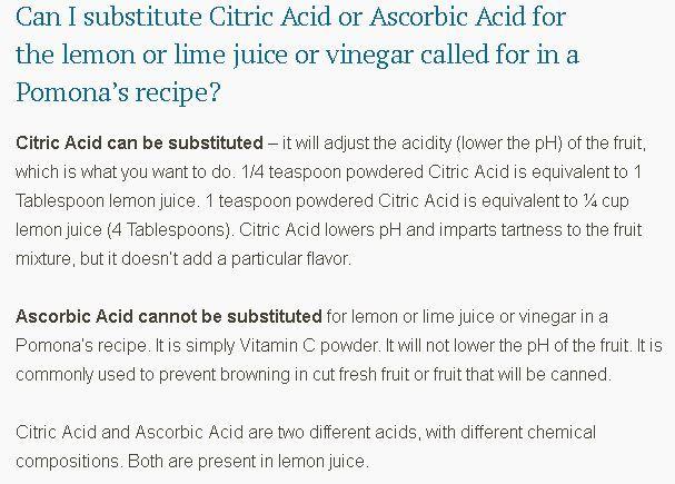 Lemon juice substitute for citric acid: 1t citric acid=4T lemon