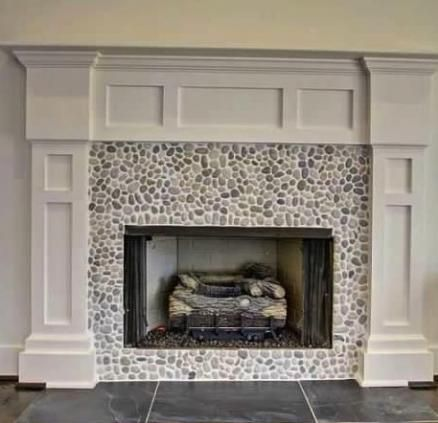 Java Tan pebble tile fireplace