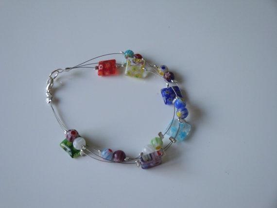 Floating Millefiori Bracelet by traceysjewellery on Etsy, £6.99